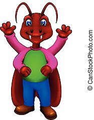 cute cocroaches cartoon standing with smile and waving