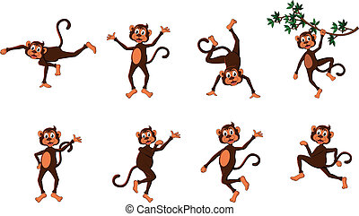 cute comical monkey series - vector illustration of cute...
