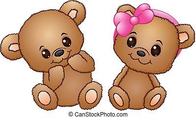 Cute couple with a teddy bear wearing a pink bow
