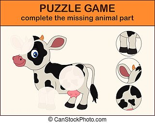 Cute cow cartoon. Complete the puzzle and find the missing parts of the picture