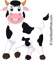 cute cow cartoon posing with smiling