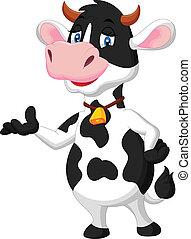 Cute cow cartoon presenting