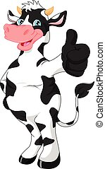 cute cow cartoon  thumb up