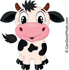 Vector illustration of Cute cow cartoon
