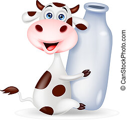 Cute cow cartoon with milk bottle - Vector illustration of...