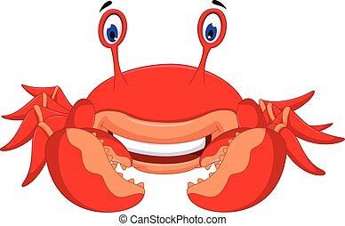 cute crab cartoon look at camera