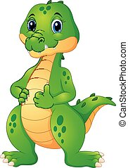 Cute crocodile cartoon giving thumbs up