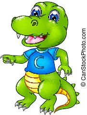 cute crocodile cartoon standing with laughing and waving