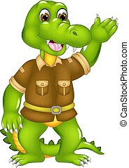 cute crocodile cartoon standing with smile and waving