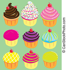 Cute Cupcakes - Vector illustration of Cute Cupcakes...