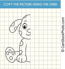 Cute dalmatian dog sitting. Grid copy game, complete the ...