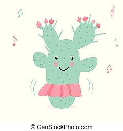 Vector illustration of cute dancing cactus