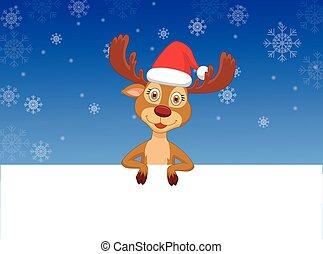 Cute deer cartoon with blank sign