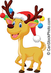 Cute deer cartoon with red hat and