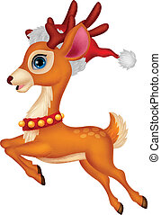 Cute deer cartoon with red hat