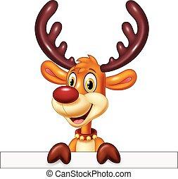 Cute deer holding blank sign