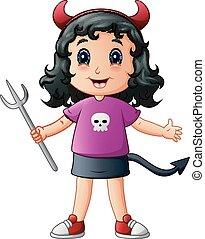 Cute devil girl cartoon