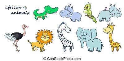 african wild animals set