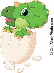 Cute dinosaur cartoon hatching - Vector illustration of Cute...