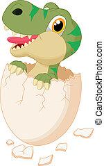 Vector illustration of Cute dinosaur cartoon hatching