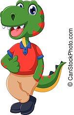 cute dinosaur cartoon thumb up