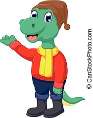 cute dinosaur cartoon waving