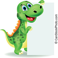 Cute dinosaur cartoon with blank - Vector illustration of...