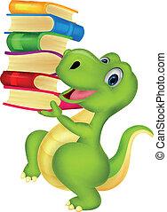 Cute dinosaur cartoon with book