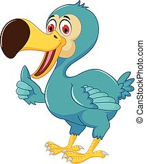 cute dodo bird cartoon thumb up