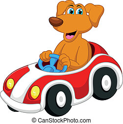 Cute dog cartoon driving car