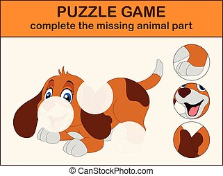 Cute dog cartoon sitting. Complete the puzzle and find the missing parts of the picture