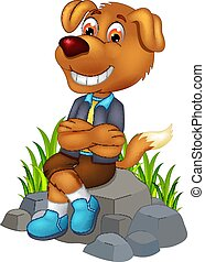 cute dog cartoon sitting on stone with smiling