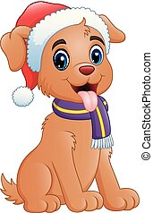 Cute dog cartoon wearing Santa cap