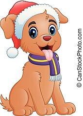 Cute dog cartoon wearing Santa cap
