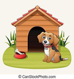 Cute dog sitting in front of kennel