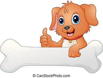 Cute dog with holding bone
