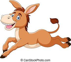 Cute donkey cartoon a smile