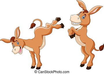 Vector illustration of Cute donkey cartoon a smile