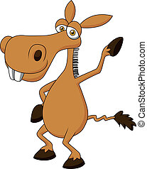 Cute donkey cartoon waving - Vector illustration of Cute...