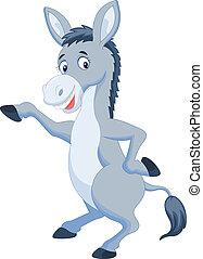 Cute donkey cartoon waving hand - Vector illustration of...