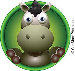 cute donkey head cartoon - vector illustration of cute...