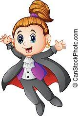 Cute Dracula girl cartoon