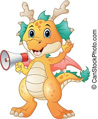 Cute dragon cartoon holding a loudspeaker