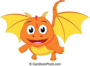 Cute Dragon cartoon - vector illustration of Cute Dragon...