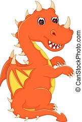 cute dragon cartoon sitting with smile and waving