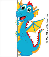 Cute dragon cartoon with blank sign