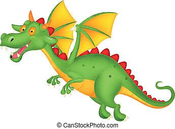 Vector illustration of Cute dragon flying