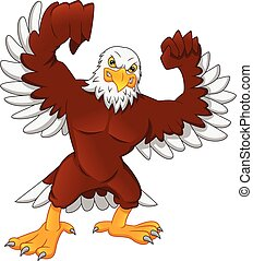 cute eagle cartoon on a white background