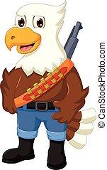 cute eagle cartoon posing with rifle