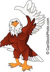 cute eagle cartoon thumb up